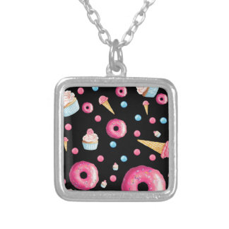 Black Donut Collage Silver Plated Necklace