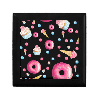 Black Donut Collage Small Square Gift Box