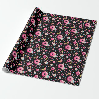 Black Donut Collage Wrapping Paper
