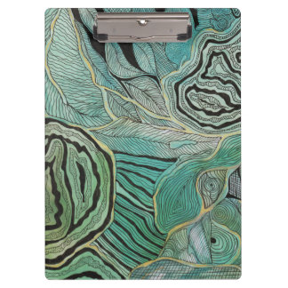 Black Doodled Leaves on Teal and Gold Clipboard