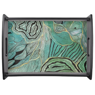 Black Doodled Leaves on Teal and Gold Serving Tray