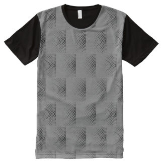 Black Dots In Semicircles On Gray Retro Pattern All-Over Print T-Shirt