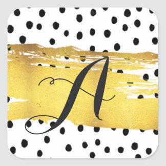 Black dots monogram Stickers