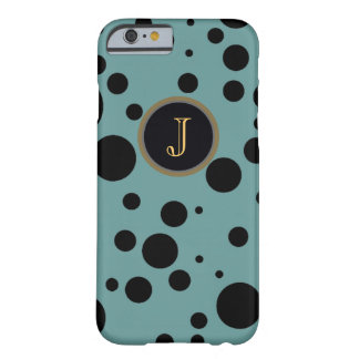 black dots on blue monogrammed barely there iPhone 6 case