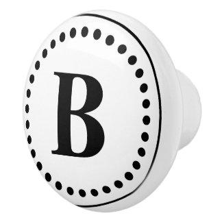 Black Dots on White Monogram Ceramic Knob