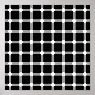 Black Dots White Line Grid Square Optical Illusion Print