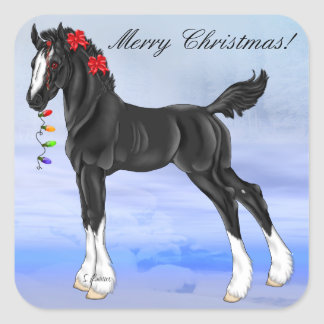 Black Draft Horse Foal Christmas Square Sticker