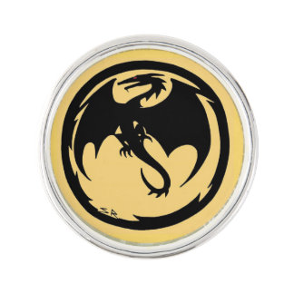 Black Dragon Gold lapel pin silver plated