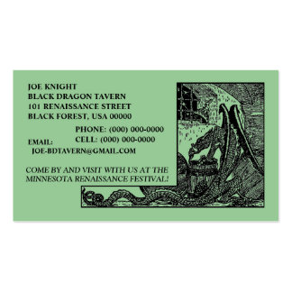 BLACK DRAGON IN DUNGEON CONTACT/BUSINESS CARDS!