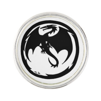 Black Dragon lapel pin silver plated