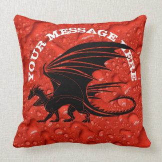 Black dragon on red background cushion