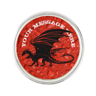 Black dragon on red background lapel pin