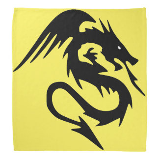 Black dragon on yellow background bandana