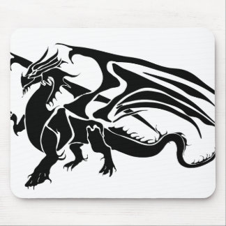 Black Dragon Silhouette Mouse Pad