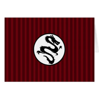 Black Dragon Silhouette on Red Stripes Card