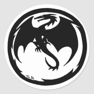 Black Dragon small round sticker