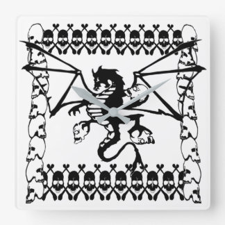 Black Dragon Square Wall Clock