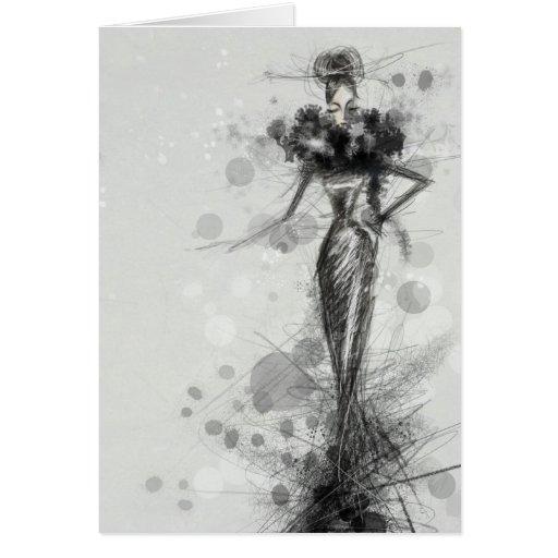 Black dress greeting cards