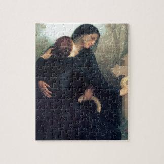 Black dress cross gothic women Bouguereau Jigsaw Puzzle