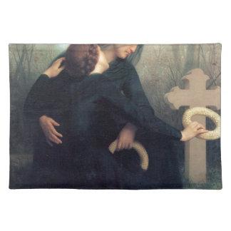 Black dress cross gothic women Bouguereau Placemat