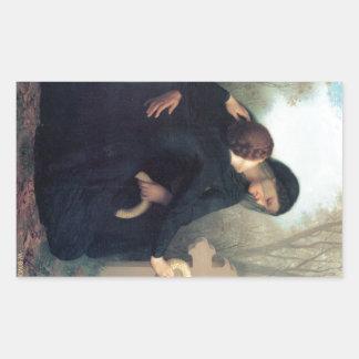 Black dress cross gothic women Bouguereau Rectangular Sticker