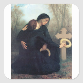 Black dress cross gothic women Bouguereau Square Sticker