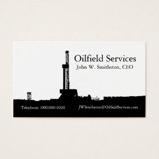 Black Drilling Rig Silhouette Business Card
