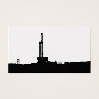 Black Drilling Rig Silhouette on White Background
