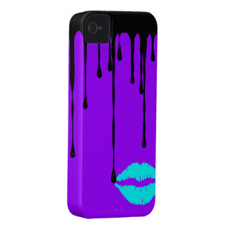 Black Drip Teal Lips Purple Custom Case-Mate ID iP iPhone 4 Case-Mate Cases