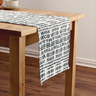 Black drops pattern short table runner