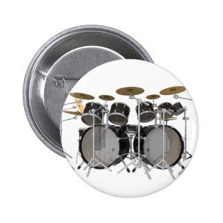 Black Drum Kit: 10 Piece: 6 Cm Round Badge