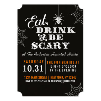 Black Eat Drink and Be Scary Halloween Party Card