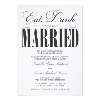 Black Eat, Drink & Be Married | Wedding Invitation