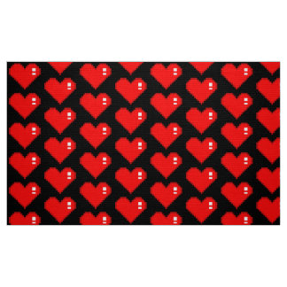 Black Eight Bit Heart Fabric