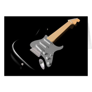 Black Electric Guitar Greeting Cards