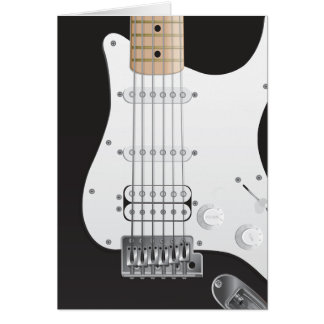 Black Electric Guitar Note Card design