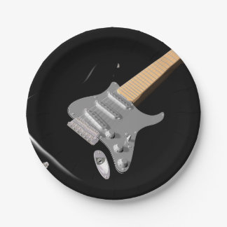Black Electric Guitar Paper Plates