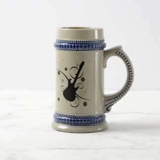 Black Electric Guitar with Floral Pattern Beer Stein