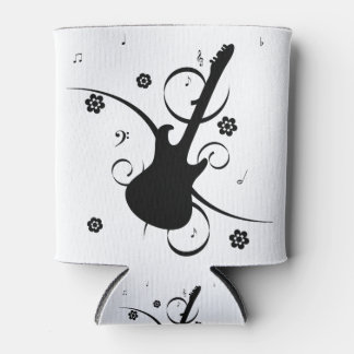 Black Electric Guitar with Floral Pattern Can Cooler