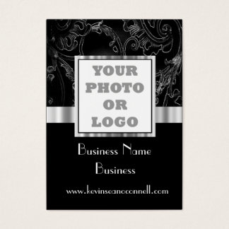 Black elegant  damask business card