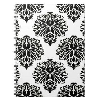Black Elegant Damask Note Books