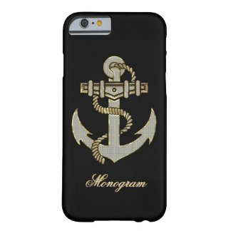 Black, Elegant Diamonds & Gold  Nautical Anchor Barely There iPhone 6 Case