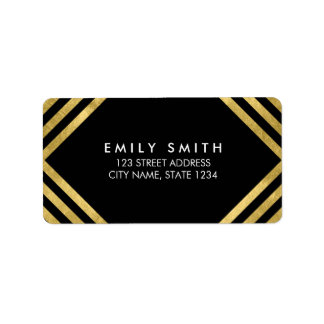 Black Elegant Faux Gold Lines Address Address Label