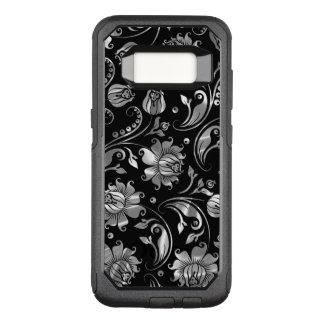 Black & Elegant Floral Damasks Silver Texture OtterBox Commuter Samsung Galaxy S8 Case