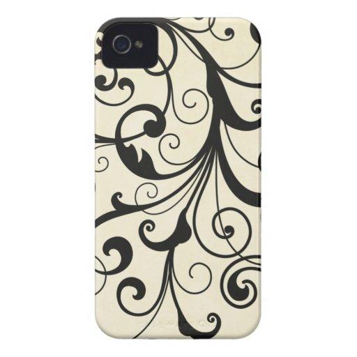 Black elegant flourish swirls blackberry bold case