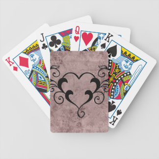 Black Elegant Heart Bicycle Playing Cards