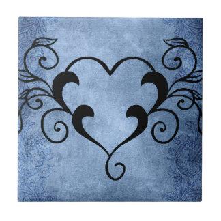 Black Elegant Heart Ceramic Tile