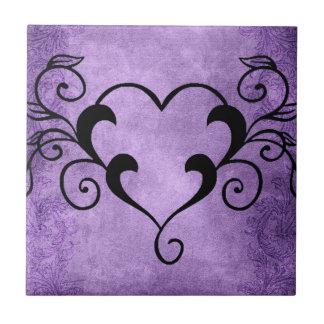 Black Elegant Heart Tile
