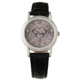 Black Elegant Heart Watch