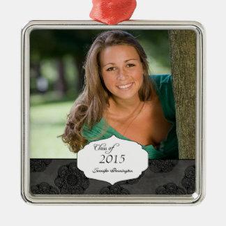 Black elegant pattern graduation photo ornament